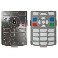 Клавиатура для мобильного телефона Motorola V3, серебристая, английская