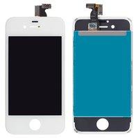 Дисплей  iPhone 4S, белый, с рамкой, с сенсорным экраном, high-copy