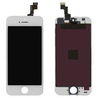 Дисплей  iPhone 5S, белый, с сенсорным экраном, с рамкой, high-copy