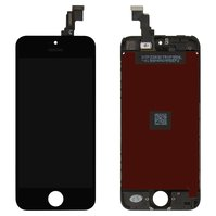 Дисплей  iPhone 5C, черный, с сенсорным экраном, с рамкой, high-copy