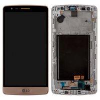 Дисплей для мобильного телефона LG G3s D724, золотистый, с сенсорным экраном, с передней панелью, original (PRC)