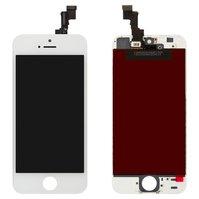 Дисплей  iPhone 5S, iPhone SE, белый, с рамкой, с сенсорным экраном, original (PRC)