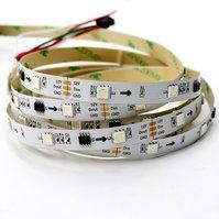 Светодиодная лента RGB SMD5050, WS2811 (белая, c  управлением, IP20, 12 В, 30 диодов/м, 1 м)
