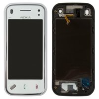 Touchscreen for Nokia N97 Mini Cell Phone, (white, with front panel)