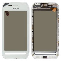 Touchscreen for Nokia 603 Cell Phone, (white, with front panel)