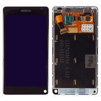LCD for Nokia N9 Cell Phone, (black, with touchscreen, with frame)