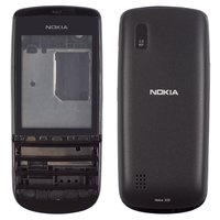 Housing for Nokia 300 Asha Cell Phone, (black, high copy)