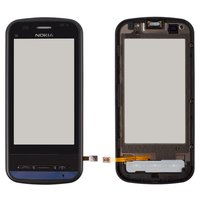 Touchscreen for Nokia C6-00 Cell Phone, (black, with front panel)