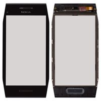 Touchscreen for Nokia X7-00 Cell Phone, (black, with frame)