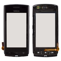 Touchscreen for Nokia 500 Cell Phone, (black, with front panel)