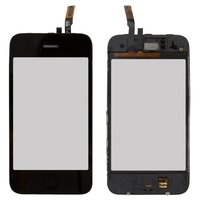 Touchscreen for Apple iPhone 3GS Cell Phone, (black, with frame, with HOME button)