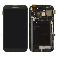 LCD for Samsung N7100 Note 2 Cell Phone, (grey, with touchscreen, with front panel)
