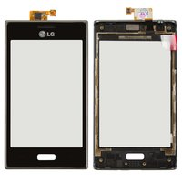 Touchscreen for LG E610 Optimus L5, E612 Optimus L5 Cell Phones, (black, with front panel)