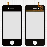 Touchscreen for China-iPhone 4, 4s Cell Phones, (black, capacitive, (112*56mm), 91 mm, type 1, (76*51mm)) #FPC_N9000