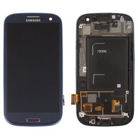 LCD for Samsung I9300 Galaxy S3 Cell Phone, (dark blue, original, with touchscreen, with front panel) #GH97-13630A