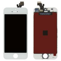 LCD iPhone 5, (white, copy, with touchscreen, with frame)