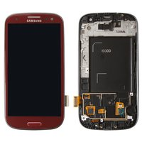 LCD for Samsung I9300 Galaxy S3 Cell Phone, (red, with touchscreen, with front panel)