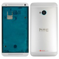 Housing for HTC One M7 Dual Sim 802w  Cell Phone, (silver)