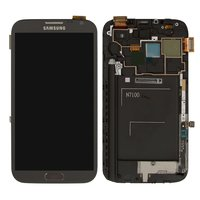LCD for Samsung N7100 Note 2 Cell Phone, (grey, original, with touchscreen, with front panel) #GH97-14112B