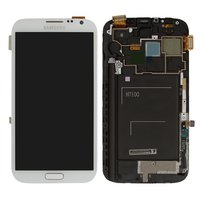 LCD for Samsung N7100 Note 2 Cell Phone, (white, original, with touchscreen, with front panel) #GH97-14112A
