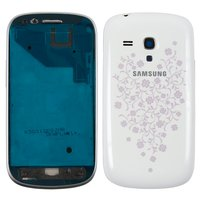 Housing for Samsung I8190 Galaxy S3 mini Cell Phone, (white, with ornament)