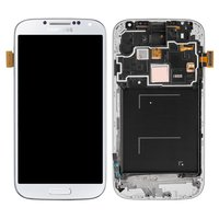 LCD for Samsung I9505 Galaxy S4 Cell Phone, (white, with touchscreen, with front panel)