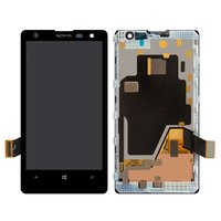 LCD for Nokia 1020 Lumia Cell Phone, (black, with touchscreen, with frame)