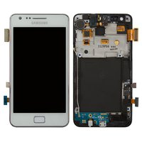 LCD for Samsung I9105 Galaxy S2 Plus Cell Phone, (white, with touchscreen, with frame)