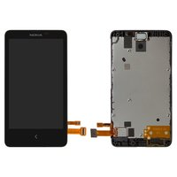 LCD for Nokia X Dual Sim Cell Phone, (black, with touchscreen, refurbished front panel)
