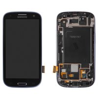 LCD for Samsung I747 Galaxy S3, T999 Galaxy S3 Cell Phones, (dark blue, with touchscreen, with frame)