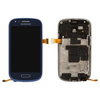 LCD for Samsung I8190 Galaxy S3 mini Cell Phone, (dark blue, with touchscreen, with frame)