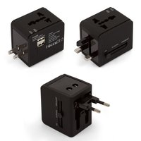 AC Adapter, (universal, traveller, converts from 220V 6A/USB to 5V 1A, black)