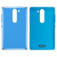 Housing Back Cover for Nokia 502 Asha Dual Sim Cell Phone, (dark blue, with side button)
