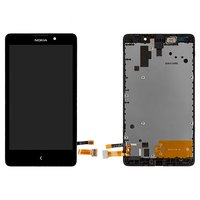 LCD for Nokia XL Dual Sim Cell Phone, (black, with touchscreen, with front panel, refurbished front panel)
