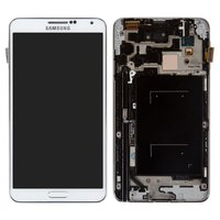LCD for Samsung N900 Note 3, N9000 Note 3 Cell Phones, (white, with touchscreen, with frame)