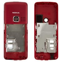 Housing Middle Part for Nokia 6300 Cell Phone, (red, without components)