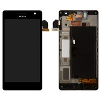 LCD for Nokia 730 Lumia Dual Sim Cell Phone, (black, with touchscreen, with front panel)