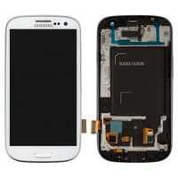 LCD for Samsung I9300i Galaxy S3 Duos, I9301 Galaxy S3 Neo Cell Phones, (white, with touchscreen, with front panel)