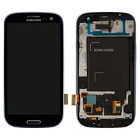 LCD for Samsung I9300i Galaxy S3 Duos, I9301 Galaxy S3 Neo Cell Phones, (dark blue, with touchscreen, with front panel)