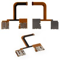 SIM Card Connector for HTC One mini 2 Cell Phone, (with flat cable, dual SIM)