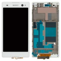 LCD for Sony D2502 Xperia C3 Dual Cell Phone, (white, original (PRC), with touchscreen, with frame)