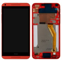 LCD for HTC Desire 816 Cell Phone, (red, with touchscreen, with front panel, yellow flat cable)