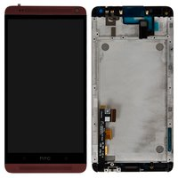 LCD for HTC One Max 803n Cell Phone, (red, with touchscreen, with front panel)