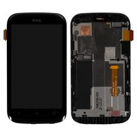 LCD for HTC T328e Desire X Cell Phone, (black, with touchscreen, with front panel)