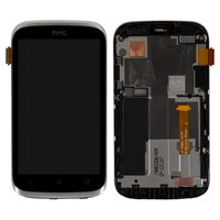 LCD for HTC T328e Desire X Cell Phone, (white, with touchscreen, with front panel)