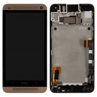 LCD for HTC One M7 801e Cell Phone, (golden, with touchscreen, with front panel)