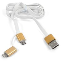 USB Data Cable micro USB, 2 in 1 Apple iPad 4, iPad Air (iPad 5), iPad Air 2, iPad Mini, iPad Mini 2 Retina, iPad Mini 3 Retina; Apple iPhone 5, iPhone 5C, iPhone 5S, iPhone 6, iPhone 6 Plus, iPhone 6S, iPhone 6S Plus, iPhone 7, iPhone 7 Plus, iPhone SE, (USB type-A, micro USB type-B, Lightning for Apple, 2 in 1)