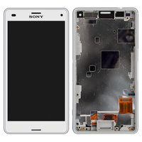 LCD for Sony D5803 Xperia Z3 Compact Mini, D5833 Xperia Z3 Compact Mini Cell Phones, (white, original (PRC), with touchscreen, with frame)