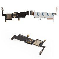 SIM Card Connector for Huawei Ascend W2 Cell Phone, (memory card connector, with flat cable, with side buttons)
