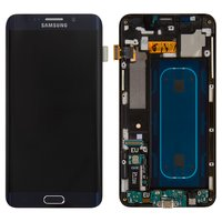 LCD for Samsung G928 Galaxy S6 EDGE+ Cell Phone, (dark blue, with touchscreen, with front panel)